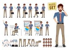 Businessman vector character creation set holding mobile phone vector illustration