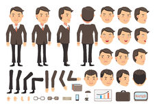 Businessman   Vector. Businessman character creation set. Icons with different types of faces and hair style, emotions,  front, rear, side view of male person Stock Photography