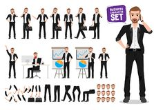 Businessman vector character set. Male business person cartoon character creation. With poses holding mobile phone and briefcase and talking for business vector illustration
