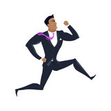 Businessman Vector Illustration in Flat Design. Businessman vector in flat design. Male character in business clothing running. Competition and career concept Royalty Free Stock Photo