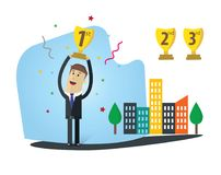 Businessman Vector Illustration. Winner with first position. Winning competition about business. Winner with first position Royalty Free Stock Image