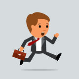 Businessman vector manager with briefcase. Stock Image