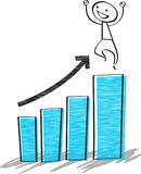 Businessman verry happy on the bar charts. Growth business concept Stock Photo