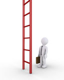 Businessman and a vertical ladder. 3d businessman is looking up at a big ladder Stock Photo