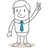 Businessman with victorious hand sign Royalty Free Stock Photo