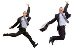 Businessman victorious leap Royalty Free Stock Photo