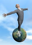 Businessman victory - 3D render. Businessman standing on a wooden pontoon looking at the ocean arms up for victory by beautiful day Stock Image