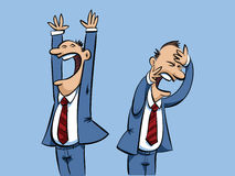 Businessman Victory and Defeat. A cartoon businessman with expressions of both victory and defeat Stock Photography
