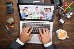 Businessman In Video Conference stock photos