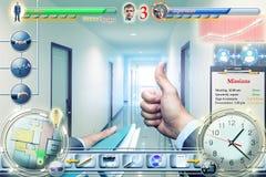 Businessman in video game. Successful businessman in business video game Stock Image