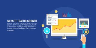 Website traffic, growth hacking, marketing data analysis, business report concept. Flat design vector illustration. Businessman viewing sales growth and website Royalty Free Stock Photos