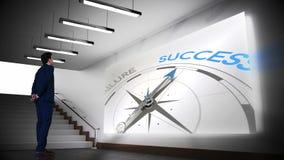 Businessman viewing success compass clip