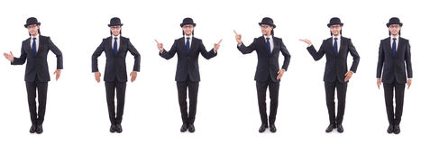 The businessman in vintage concept isolated on white Royalty Free Stock Photos