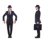 The businessman in vintage concept isolated on white Royalty Free Stock Photography