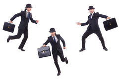 The businessman in vintage concept isolated on white Stock Image