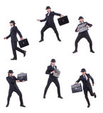 The businessman in vintage concept isolated on white Royalty Free Stock Images