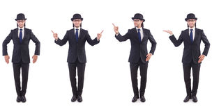 The businessman in vintage concept isolated on white Royalty Free Stock Image