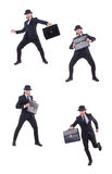 The businessman in vintage concept isolated on white Royalty Free Stock Photo
