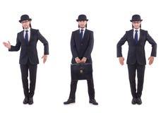 The businessman in vintage concept. Businessman in vintage concept isolated on white Stock Photo