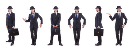 The businessman in vintage concept isolated on white Stock Images