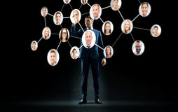 Businessman with virtual corporate network Royalty Free Stock Photos