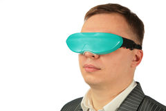 Businessman with virtual glasses Stock Photo