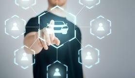 Businessman with virtual hologram of car sharing stock photos