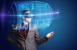 Businessman with virtual reality goggles Stock Photography