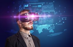 Businessman with virtual reality goggles Royalty Free Stock Image
