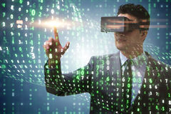 The businessman in virtual reality trading on stock market. Businessman in virtual reality trading on stock market Royalty Free Stock Photo