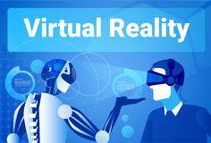 Businessman In Virtual Reality Using Modern Robot Man In Vr Goggles Concept. Vector Illustration Royalty Free Stock Images