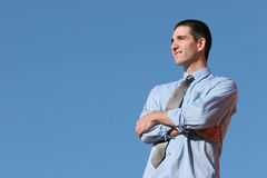 Businessman with a vision. Young businessman with a vision Stock Photography