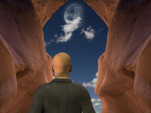 Businessman Vision Quest. Watching moon Royalty Free Stock Image