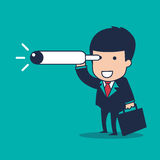 Businessman vision. Vector cartoon businessman vision target Royalty Free Stock Photography