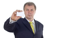 Businessman with visiting card Stock Photography