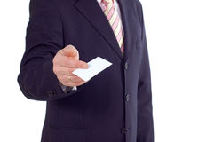 Businessman with visiting card Royalty Free Stock Image