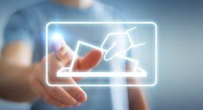 Businessman voting using digital interface 3D rendering. Businessman on blurred background voting using digital interface 3D rendering Stock Image
