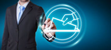 Businessman voting using digital interface 3D rendering. Businessman on blurred background voting using digital interface 3D rendering Royalty Free Stock Image