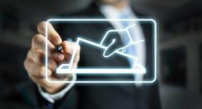 Businessman voting using digital interface 3D rendering. Businessman on blurred background voting using digital interface 3D rendering Stock Photo