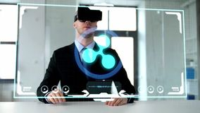 Businessman with vr headset stock video