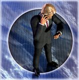 Businessman waiting. 3D rendering-illustration of a businessman talking on the phone and waiting, watching his clock Royalty Free Stock Photography