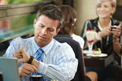 Businessman waiting in cafe Stock Photography