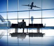 Businessman Waiting the Flight in the Airport Royalty Free Stock Photo