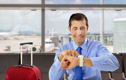 Businessman waiting the flight Royalty Free Stock Photos