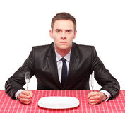 Businessman waiting his meal Stock Photo