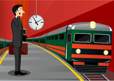 Businessman waiting for the train Stock Photography