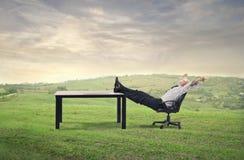 Businessman waking up royalty free stock photography