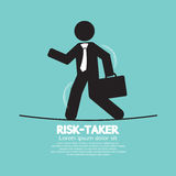 Businessman Walk On A Line Rask-Taker Concept Royalty Free Stock Image