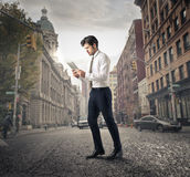 Businessman walking around the city Stock Photo