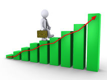 Businessman walking on chart. 3d businessman is walking on green chart with red arrow Royalty Free Stock Photo